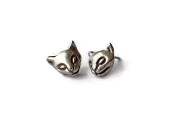 Silver cat earrings niobium or titanium post