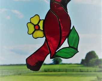 Stained Glass Bird Suncatcher, Bird Decor, Cardinal, Made In Ireland, Red Suncatcher