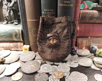 Mini Dragon eye dice bag (Brown leather with Yellow Eye)----New Style-----