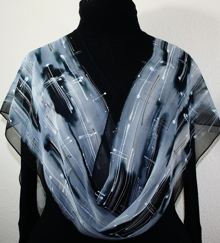 painted silk scarf black white silver grey handmade