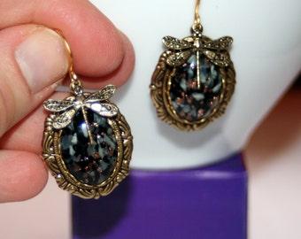 Vintage Czech foil harlequin black opal Dragonfly charm Victorian earrings