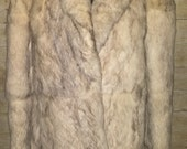 ON HOLD real fur jacket vintage 80s shawl collar wrap front grey ivory satin lined boho warm toasty winter soft coat Hong Kong foxy rabbit