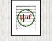 Noel Wreath on Shiplap Print - Christmas printable Wall Art - Farmhouse style decor - Immediate Download