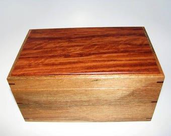 "Memory Box. Exotic Mahogany and Bubinga Keepsake Box. 9.75"" x 6"" x 5"". Handcrafted Wooden Memory Box."