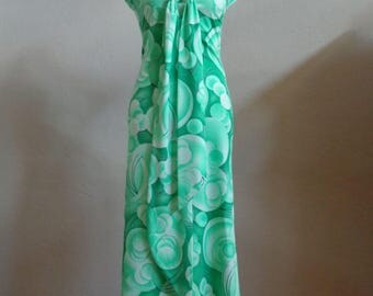 "Vintage 60's-70's Maxi Sleeveless Dress Circular/Bubble Pattern Shades of Green Bust 35"" Waist 29"""