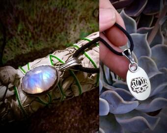 Lotus Moon- Rainbow Moonstone Pendant
