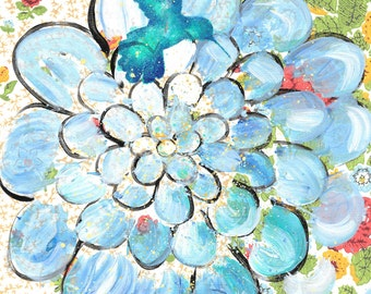 For The Birds - original painting, Blue Hummingbird and Blue Zinnia Flower painted on Vintage Wallpaper