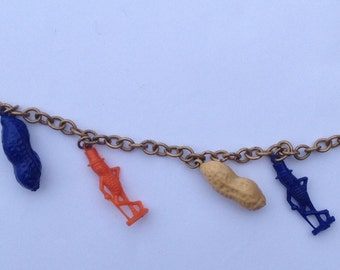 Vintage Mr. Peanut Bracelet  Six Charms Blue Orance Beige
