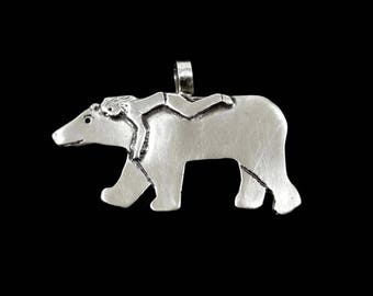 Sterling Bear Jewelry Gift For Mom, Mama Bear Pendant, Sterling Bear Necklace, Robin Wade Jewelry, Mama Bear Brie Journeys With Eliza, 2446
