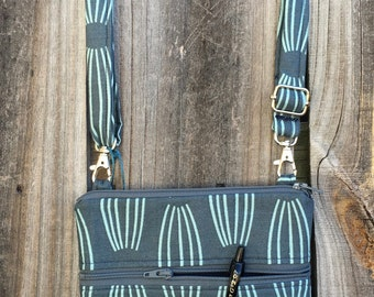 Small Cross Body Bag Purse, Sling Bag, Hip Bag Zipper Closure -  Blue and Turquoise pattern