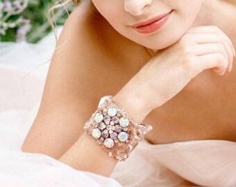 Pink Bridal Cuff, Wedding Cuff, Bridal Bracelet, Wedding Jewelry, Bridal Accessories