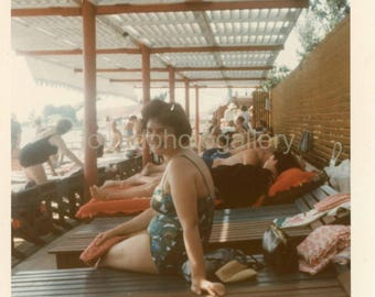 Vintage Photo, Woman in Bathing Suit, Soshi Russia, Sunbathers. Lounge chairs, Holiday, Vacation, Color Photo, Old Photo, Found Photo