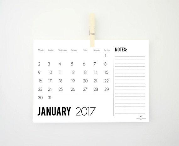 Printable Horizontal Monthly Calendar for 2017 Task List