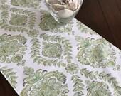Green Floral Table Runner, Spring Table Runner, Green Table Cloth, 13x72 Table Runner, Floral Table Runner, Green Table Decor