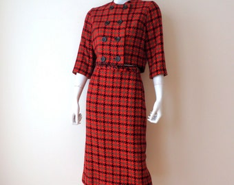 Vintage 1960's/Red Plaid Jacket and Skirt Suit/Red and Black Houndstooth Plaid Skirt Suit/60's Plaid Jacket and Skirt Suit/Broadmoor/Small