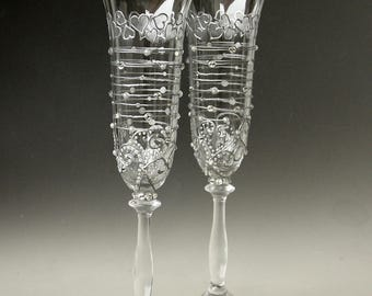 Wedding Glasses, Champagne Flute, Silver Wedding, Hearts Glasses, Hand painted, Set of 2