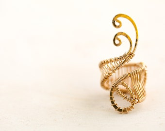 Gypsy statement ring. Gold wire ring. Gold gypsy ring. 14th anniversary gift ring. Wire wrapped gold ring. Gold swirl ring.  Gift for her.