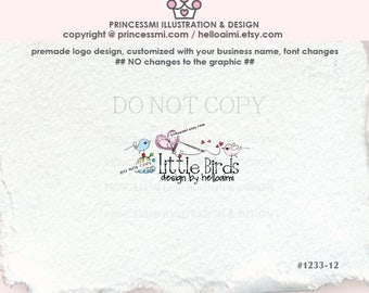1233-12 sewing logo,  Premade Logo Design,  birds sewing logo, stitching logo, stitch, sew, handmade boutique watermark, banner