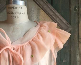 1940s Peach Chiffon Bed Jacket