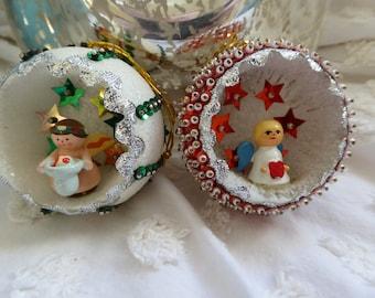 Two Hand-made Styrofoam Angel Christmas Ornaments.  Vintage Hand-made Christmas Ornaments.  1960s Vintage Christmas Ornaments.  Hand-made.