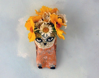 Ceramic Wall Art | Clay Wall Vase | Ceramic Sculpture | Wall Bird | Owl Vase | Decorative Wall Hanging | Owl Art | Decorative Art | Ceramics