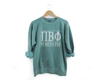 New Pi Beta Phi Comfort Colors Stripe Crewneck Sweatshirt // Size Small-2XL