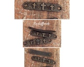 Italian Flea market Vintage Style rustic patina 4 crosses curved connector bar 2 pcs