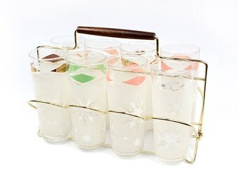 Vintage Glasses Set with Metal Caddy Rack