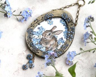 Rabbit Painting, Easter Bunny Art, Spring Painting, Wall Sculpture, Rabbit Lover Gift, Forget Me Nots, Botanical Art, Original Art, OOAK