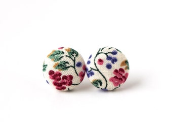 Floral fabric button earrings - tiny stud earrings - vintage style earrings white green violet