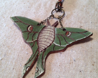 Leather Luna moth necklace   pendant whimsical