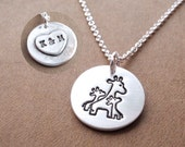 Personalized Small Mother and Twin Giraffe Necklace, Mom and Two Kids, Heart Monogram, Fine Silver, Sterling Silver Chain, Made To Order