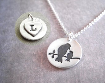 Personalized Small Mother and Baby Bird Necklace, New Mom Necklace, Bird Monogram, Fine Silver, Sterling Silver Chain, Made To Order