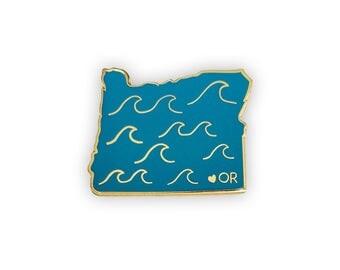 Oregon Enamel Pin - Oregon State Waves Pin