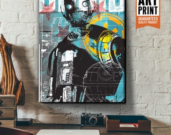 Star Wars Canvas - Rogue One K2SO - Star Wars Patent Art, large Canvas Art Print, fan art illustration, Star Wars gift, Star Wars canvas art