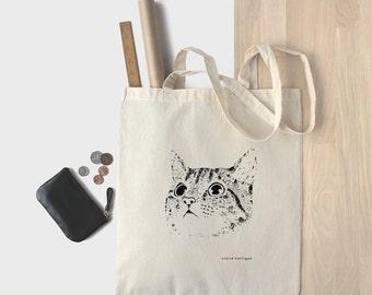 Cotton Tote Bag Cat Bag Kitten Shopping Bag Cat Tote Bag Kitty Cat Bag Cat Face Cat Lover 100% Natural Bag Market Bag