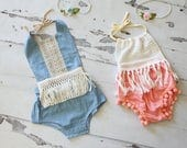 Boho Style Pom Pom Romper & Headband. Chic Chenille Pink or Blue Lace. Newborn Baby Girl Coming Home Outfit, 1st Birthday Outfit, Summer Set