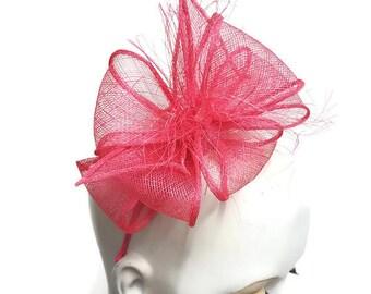 Hot pink fascinator shocking pink bright pink sinamay headband fixing