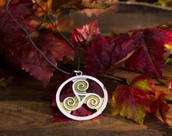 Triskelion Celtic necklace pendant nature elven nature jewelry