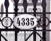 "Oval Enamel House Number  10 5/8"" x 6 5/8"" (27 x 17 cm)"