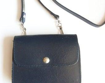 vintage navy blue leather small crossbody bag navy leather bag cross-body bag 1980s small purse 1980s bag belt bag 80s blue leather