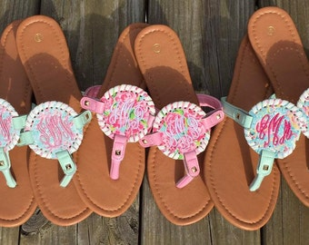 Monogrammed Sandals - Lilly Inspired Prints - Lobster - Roses - Flamingos - Personalized Flip Flops - Bridesmaid Gifts - Bridal Party Gifts
