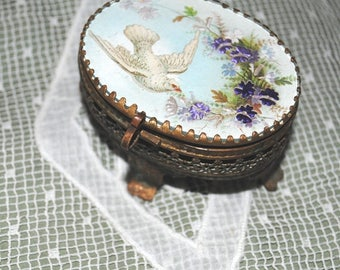 Antique French TRINKET BOX DOVE & Violets Flowers