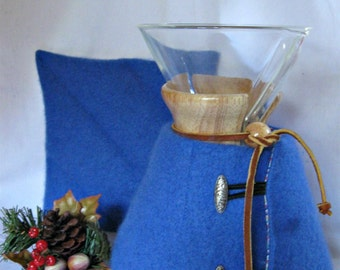 Chemex Sweater Cozy and Warming Pad-Repurposed Felted Cashmere -Fits 8 cup with wooden collar- OOAK