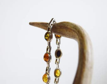 Sterling Silver and Amber Cabochon Bracelet