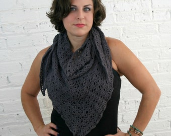 Triangle Scarf - Versatile Shawl Scarf - Lace Shawl - Charcoal