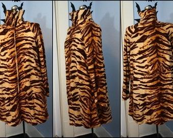 Groovy Vintage Womens Fuzzy Tiger Go Go Dress Modern XL 60s 70s Disco Animal Print Cozy