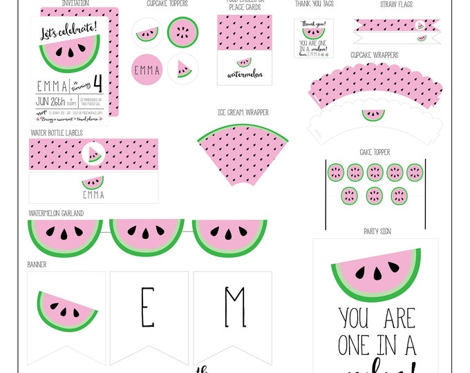 Featured listing image: Watermelon Birthday Collection - Watermelon Party Package - Watermelon Party Supplies // WAT -01
