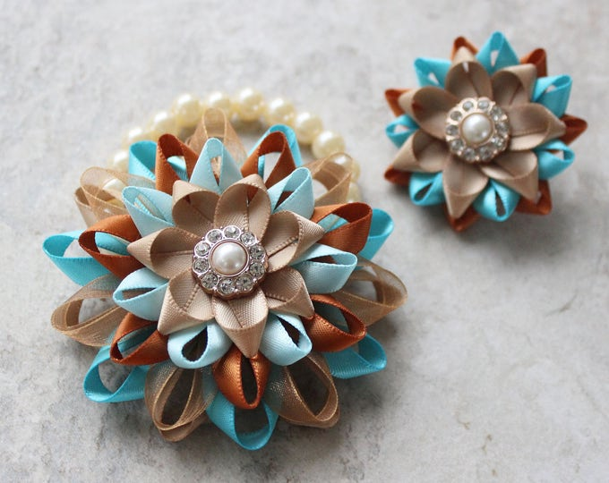 Wrist Corsage and Boutonniere, Prom Flowers, Aqua, Gold, Corsage Bracelet, Wedding Corsage Wrist Flowers, Turquoise, Matching Couple