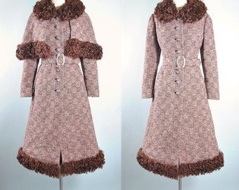 Vintage 50s 60s Mod Princess Coat / Belted Wool Dress Coat Real CURLY LAMB FUR Cape Capelet Fit Flare Full Skirt Pinup S Small M Medium